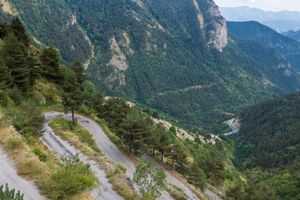 The switchback descent from the Col de Tende to the Roya Valley, Provence, France