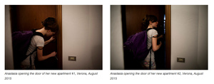 Anastasia opening the door of her new apartment #1, Verona, August 2015
