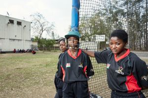 Dalitso, Dalida & Shahida take a break from batting practice. Malawian Under 19 Women's Cricket Team, Blantyre, Malawi, 2016.