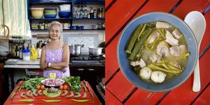 Fernanda De Guia, 71 years old - Manila, Philippines. Sinigang (tamarind soup with pork and vegetables) © Gabriele Galimberti