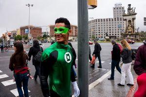 Green Lantern walking on the streets. Barcelona. 2016