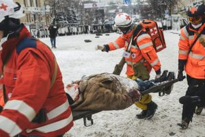 Doctors take away the victim after clashes between riot police and protesters. Kiev Jan. 22, 2014.