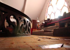 Duct taped carpet and plastic covered stained glass  © Nicholas Gregory