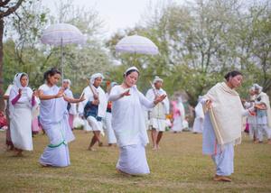 The Maibi priestesses of Manipur dance at the Lai Haraoba festival.