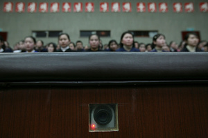 A camera is embedded in the wall and used to record inside an auditorium at the Mangyongdae Schoolchildren's Palace in Pyongyang, North Korea, 27 February2008.