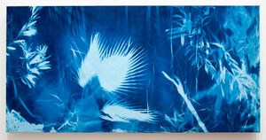 "The Sisters: Palm, Cyanotype, Recycled fabric, 48""x 60"", © Alex Emmons"
