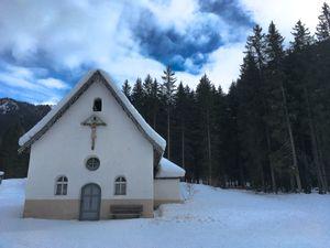 Mountain chapel at Dolomites