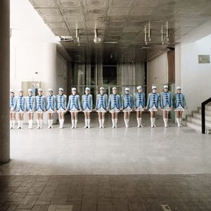 The majorettes were seemingly everywhere during my time in Vukovar. Here they are lined up to welcome some dignitaries in the foyer of the Radnicki Dom or 'workers hall' which once stood, and still stands, at the heart of the Borovo Naselje social life.  © Colin Dutton