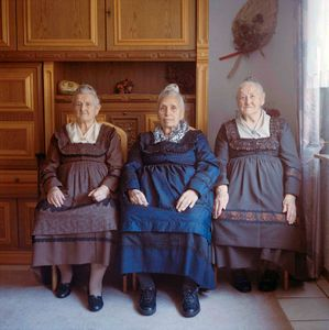 Three women from one village, Protestant Marburger Land, Hesse, 2015 . From the series: The last women in their traditional peasant garbs