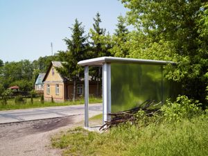 Bus stop, site of the former railway station in the town of Treblinka - last stop before transports with prisoners entered the extermination camp.