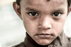 The homeless children. Sometimes it's not easy to smile.