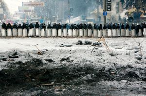 Police forces located on Grushevskogo street (Ukraine, Kiev, February, 2014)