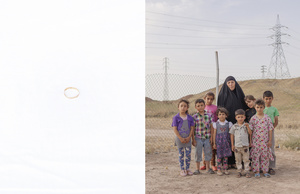 A portrait of Kalfo, 56, and her grandchildren Rida, Zeid, Rokeya, Malak, Zahraa, Abbas, Yasmin, Ahmed. The portrait has been paired with the wedding ring of Kalfo, one of the few objects she was able to take with her while fleeing her hometown. 12/05/15.