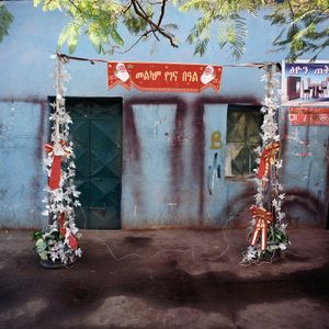 Slight traces of Western culture - a Christmas decoration on one of the streets in Aksum.