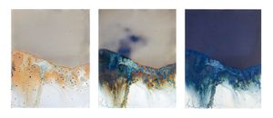 """Littoral Drift Continuum #13 (Three Moments in Forty-eight Hours, Rodeo Beach, CA 07.21.13, One Wave, Poured)16""""x37"""", Archival pigment print of re-photographed, Unique Cyanotype"""