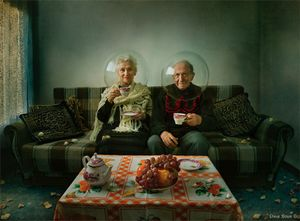 """Elegy of Autumn"" -  a melody of autumn - a story about elderly couple living together all Life, each in his personal world, each with his own secrets. It's a story of people who live modest life, but with dignity. It's a story that has both — sadness and smile... In this artwork the spheres serve as metaphors for dissociation from the outside world and even from each other.  © Dina Bova"