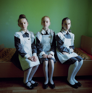 Three friends. Military boarding school, Ukraine, 2015. © Michal Chelbin