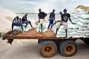 The bags of salt are transported by truck for further processing and purification to the Senegalese capital, Dakar.