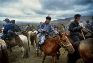 Ulan Bator, Mongolia: The trotter is getting ready for the horse race, one of the three disciplines on the traditional Mongolian festival of Nadam. © Matjaz Krivic