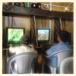 View inside a computer games room inside Za'atari refugee camp