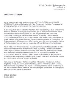 GETTING CLOSER Curator's Statement