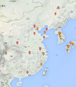 China Region: Map of Polar Bears in Captivity (2015)