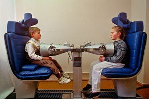 Kiev, Ukraine, 1993. Children are examined for cesium-137, a radioactive isotope of cesium which is formed as one of the more common fission products by the nuclear fission of uranium-235 and other fissionable isotopes in nuclear reactors and nuclear weapons.