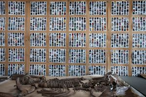 Pictures of missing persons and already identified victims are displayed in the mortuary of Sanski Most in northwest Bosnia. © Ole Elfenkämper