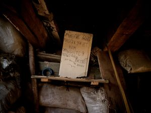 "Trench interior in the north of Donetsk: ""There were many of us / But many of us have gone / We will be blessed with the victory of dawn."""