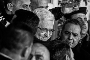 Palestinian President Mahmoud Abbas addresses a crowd in Ramallah who had gathered to celebrate the release of 26 Palestinian prisoners by Israel. Dec. 31, 2013. West Bank, Palestine.