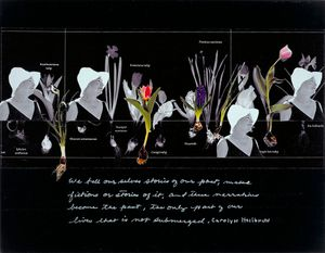 """In My Mother's Garden, from Fieze, Not Losing her Memory series, collage and white ink on silhouette paper, 8 1/2"""" by12"""". 1991/1992, ©Joanne Leonard"""