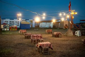 Turkey, Igneada An empty outdoor cafe in the Igneada resort on the Black Sea© Petrut Calinescu