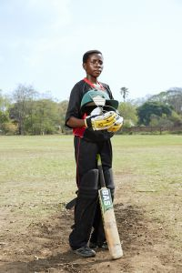 Tadala, batsman, Malawian Under 19 Women's Cricket Team, Blantyre, Malawi, 2016.
