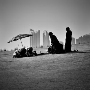 Praying at the Museum of Islamic Art Park in Doha