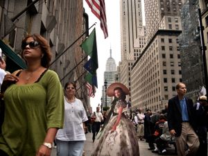 "From the series ""Scarlett America: American Wanderings of a Cardboard Stand-up"", Scarlett in New York, December 2008"