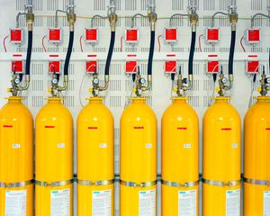 "Part of the fire fighting system of the supercomputer that designs France's nuclear weapons. From ""Forensic Traces of War"" © Simon Norfolk"