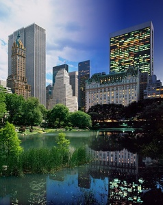 Night & Day - Central Park Pond and Plaza Hotel