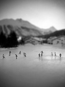 Morning winter excercising for school kids at Celerina Switzerland