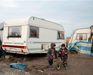Syrian children living in a van