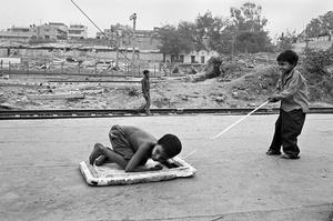 Children from the nearby slum,Sadar Bazar Railway Station.
