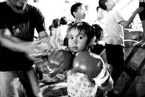 Girl, 6 years, after she has won a boxing match. © Sandra Hoyn