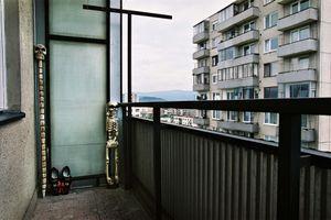 Skeletons on a balcony in Pezinok, 2004. © Andrej Balco