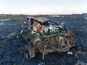 A car has reappeared after the tidal water had ebbed away.  Flowers were decorated by somebody.© Uma Kinoshita
