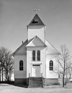 Catholic church, winter. Ramah, Colorado. 1965-66. © Robert Adams. Image courtesy of Fraenkel Gallery.