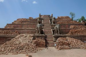 The rubble of a temple in Bhaktapur Durbar square, Nepal on 5 May 2015.
