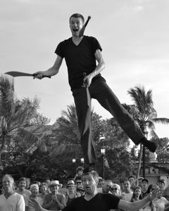 Street Performers the Red Trouser Show, Knife-Juggling, Key West, Florida