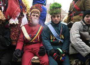 Winter Festival, Sighet, 2002. Young people coming to the pagan-inspired Winter Festival can choose to be demon drac, or play actors in ritual dances. © Kathleen Laraia McLaughlin.