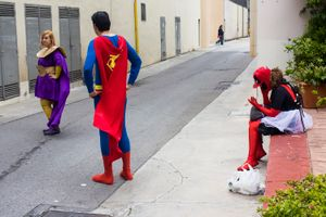 Three comic fans take a break at Barcelona´s Comic Book Hall. Barcelona. 2016