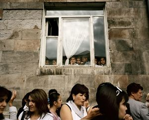 UNRECOGNIZED REPUBLIC OF NAGORNO-KARABAKH / Stepanakert / 1.09.2011. Ceremony on the occasion of the first day of school. Parents are accompanying their children on their first day of school in their respective school in town. It is one day prior to the important National Holiday, the 20th anniversary of the foundation of Nagorno-Karabakh Republic.