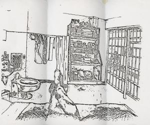 Sketch of a death row cell interior  by a then 32 year old man who has been serving time on death row for over 13 years.© Amy Elkins